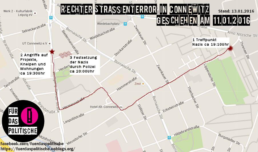 Rechter Strassenterror in Connewitz - Geschehen am 11.01.2016